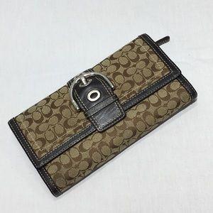 Coach Soho Signature Trifold Wallet Chocolate $218